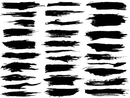 Set different grunge brush strokes. Dirty artistic design elements isolated on white background. Black paint hand made, dry ink vector brush strokes Ilustrace