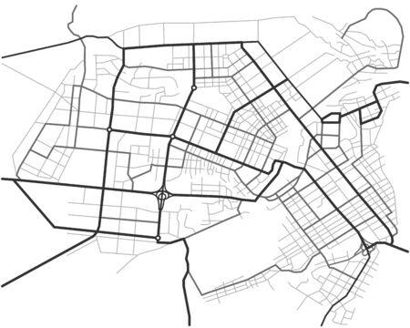 Master plan of Barnaul city. Town streets on the plan. Map of the scheme of road. Urban environment, architectural general layout. Vector background