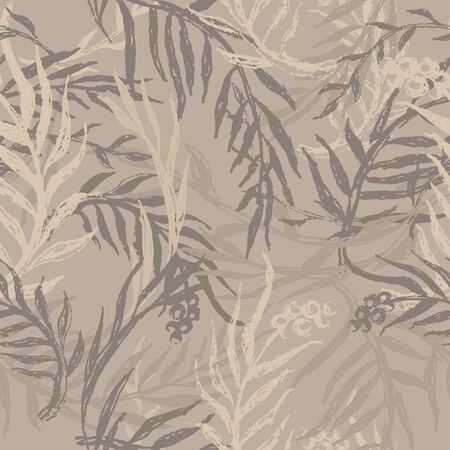 Camouflage with leafs and twigs, seamless hand drawn pattern. Tropical camo texture with botanical motif. Grunge brush painted floral background. Vector wallpaper