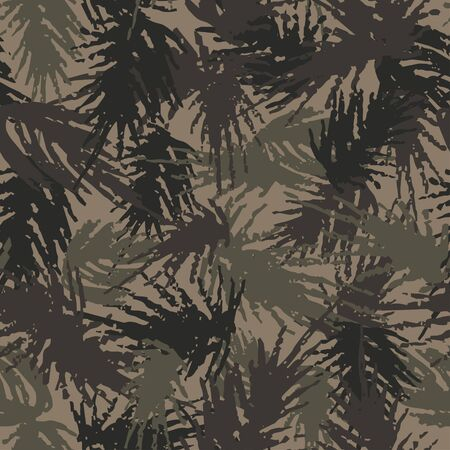 Camouflage needles plants, seamless pattern. Grunge branches and herbs, green hand drawn forest camo background. Distressed texture wallpaper. Fabric design. Ink vector