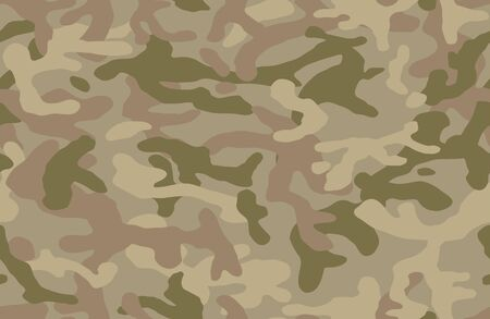 Camouflage pattern background seamless vector illustration. Classic clothing style masking camo repeat print. Beige, brown, ocher colors forest texture.