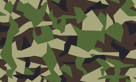 Geometric camo, seamless pattern. Abstract military or hunting camouflage background. Green color. Vector illustration.