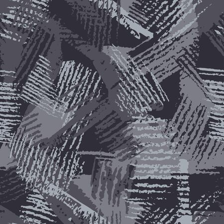 Camouflage, modern fashion design. Hand drawn camo with pencil strokes. Grunge pattern. Black and gray background, monochrome, fashionable, fabric. Textile printing. Vector seamless abstract texture.