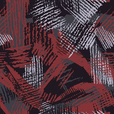 Hatch camouflage, modern fashion design. Hand drawn camo with pencil strokes. Grunge pattern. Black and red background, fashionable fabric. Textile printing. Vector seamless abstract texture. Ilustrace