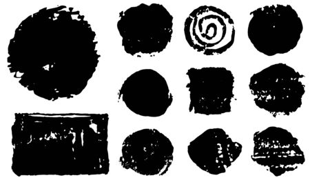 Brush strokes - speech bubbles set. Rectangle and round text boxes. Dirty distress texture banners. Ink splatters. Vector