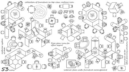 Modern office furniture icons in top view, vector floor plan collection. Contemporary workplace interior design elements. Desks with chairs, working person and computers for working space.
