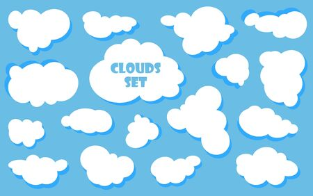 Cartoon Blue sky with clouds on the shiny day. Silhouette of white fluffy clouds isolated on blue background. Vector set Vetores