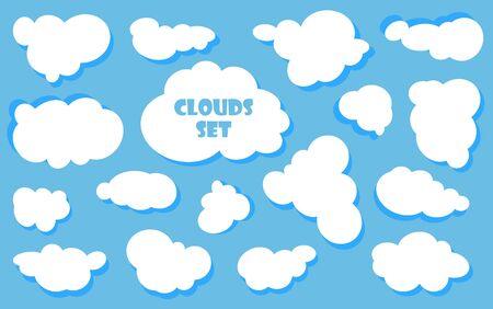 Dibujos animados de cielo azul con nubes en el día brillante. Silueta de nubes blancas mullidas aisladas sobre fondo azul. Conjunto de vectores Ilustración de vector