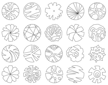 Set of trees top view for landscape design. Thin line icons for architectural plans. Vector graphic.