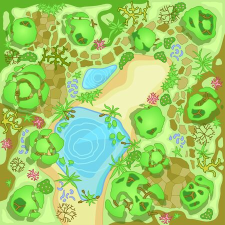 Site improvement Landscape and tourist camp in the forest. (Top view) Pond, stones, trees, plants, lake, beach. (View from above). Terrain design. Vector illustration.