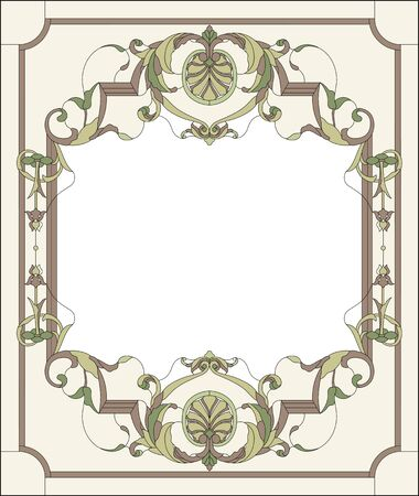 Stained-glass window decoration panel in a rectangular frame, abstract floral arrangement of buds and leaves in the baroque style. Stained glass colorful vector.