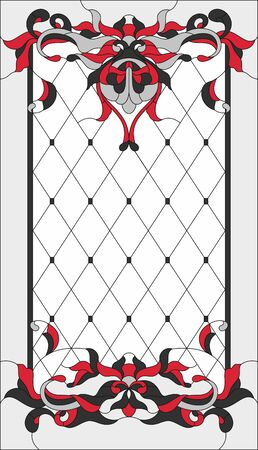 Stained-glass panel in a rectangular frame, abstract floral arrangement of buds and leaves in the art Nouveau style. Decorative design of the window or door. Vector illustration.