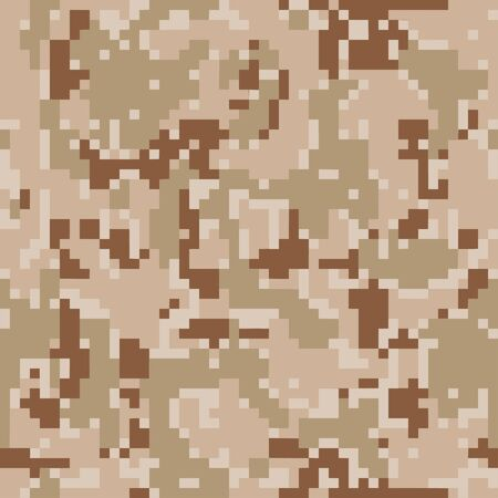 Pixel camouflage. Seamless digital camo pattern. Military texture. Brown desert color. Vector fabric textile print designs.
