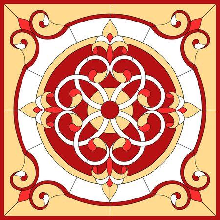 Fiore astratto in cornice quadrata, geometrica, finestra sul soffitto in cornice quadrata, composizione simmetrica, vetrata con illustrazioni vettoriali