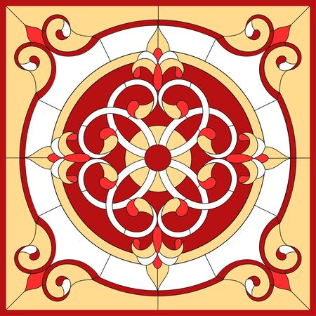 Abstract Flower in square frame, geometric, window on the ceiling in square frame, symmetric composition, vector illustrations stained glass window