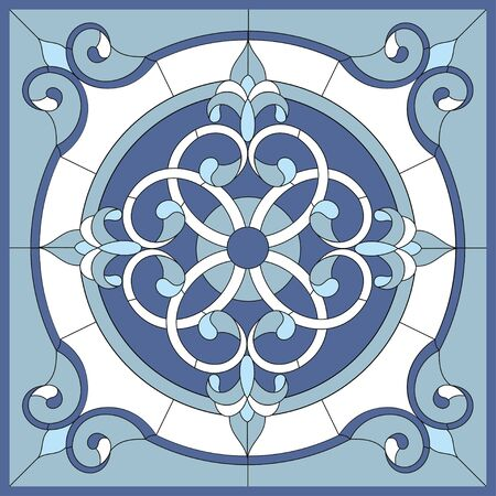 Ceiling panels stained glass window. Abstract Flower, swirls and leaves in square frame, geometric ornament, blue color, symmetric composition, stained glass technique, classic style. Vector Ilustração Vetorial
