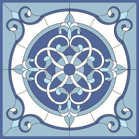 Paneles de techo vidriera. Flor abstracta, remolinos y hojas en marco cuadrado, ornamento geométrico, color azul, composición simétrica, técnica de vidrieras, estilo clásico. Vector Ilustración de vector