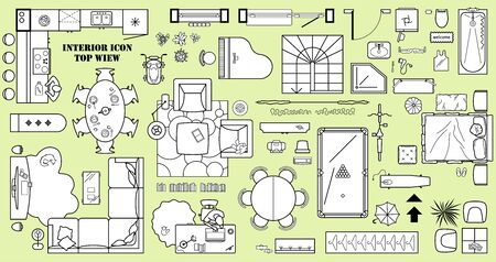 Floor plan icon set in top view for interior design. Architecture plan with furniture View from above. The layout of the apartment, kitchen, living room and bedroom. Vector
