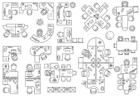 Floor plan of office or cabinet in top view. Desks (working table), chairs, computers, reception and other modular system of office equipment. Furniture icons in view from above. Vector
