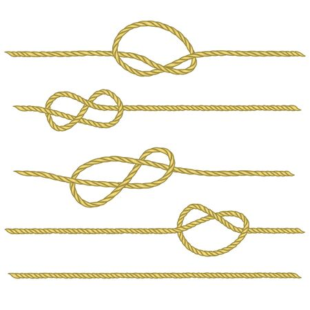 Set of ropes with different nodes. Drawing related to maritime. Sailor rope tying the nautical knot. Vector brush.