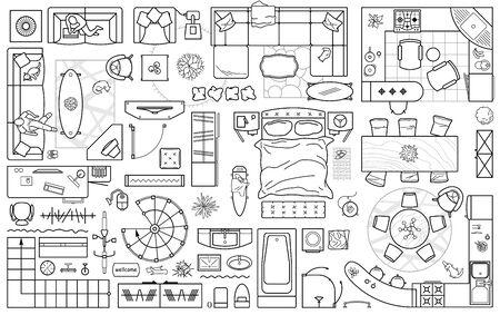 Icônes de plan d'étage définies pour le design intérieur et le projet architectural (vue d'en haut). Icône de fine ligne de meubles en vue de dessus pour la mise en page. Appartement de plan. Vecteur