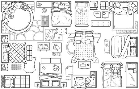 Set of furniture icons for the bedroom, top view. The layout plan of the apartment. Interior icon for floor plan. A set of beds (sign and symbol) plan of the bedroom design. Vector blueprint Vector Illustratie