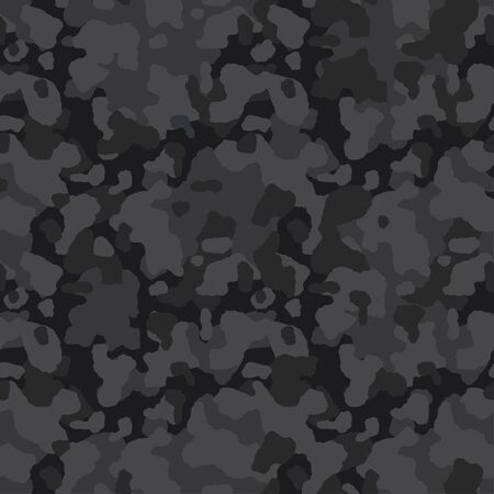 Camouflage pattern background, seamless vector illustration. Classic clothing style masking dark camo, repeat print. Gray and black texture Ilustração