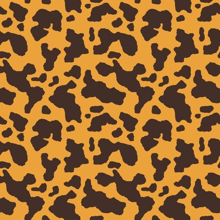Abstract Leopard pattern. Trendy seamless vector print. Animal texture. Black spots on orange yellow background. Cheetah skin imitation for painted on clothes or fabric. Imagens - 141735056