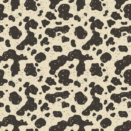 Quail eggs texture. Abstract vector seamless pattern with dots and splashes on a beige background. Cow grunge tiles