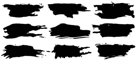Vector collection of artistic grungy black paint hand made creative brush stroke set isolated on white background. Ilustração