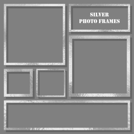 Metal frames set with shadows isolated on gray background. Pack of silver luxury realistic square, rectangular borders. Vector illustration