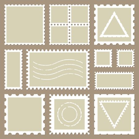 Blank rectangle and square postage stamps, with a shadow isolated on beige background. Empty template paper mark symbol of delivery correspondence. Vector frame border Imagens - 141735074