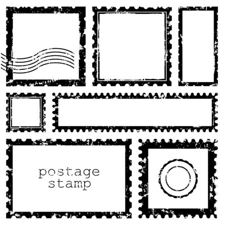 Grunge scratched rectangle and square dirt postage stamps, with a shadow isolated on beige background. Vector frame border