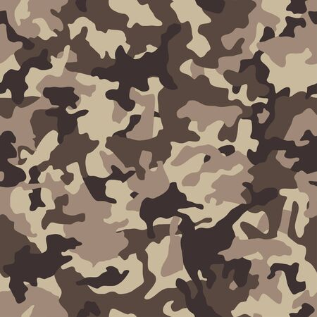 Camouflage pattern background, seamless camouflage. Classic clothing style masking camo repeat print. Beige, brown, ocher colors Camouflage. Military texture. Vector illustration Ilustração