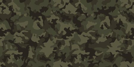 Camouflage pattern background, seamless vector illustration. Classic military clothing style. Masking camo repeat print. Dark green khaki texture. Ilustracje wektorowe