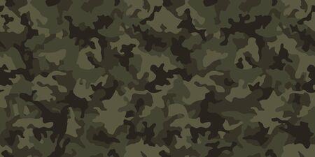 Tarnmusterhintergrund, nahtlose Vektorillustration. Klassischer militärischer Kleidungsstil. Maskierender Camo-Wiederholungsdruck. Dunkelgrüne Khaki-Textur. Vektorgrafik