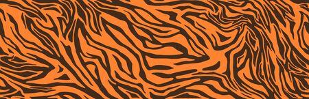 Tiger or zebra fur repeating texture. Animal skin stripes, jungle wallpapers. Seamless vector pattern Ilustração