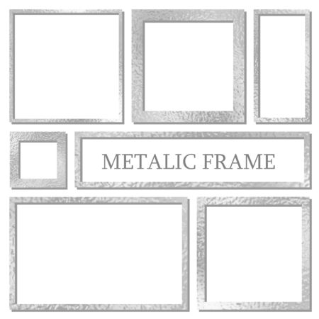 Metal frames set with shadows isolated on white background. Pack of silver luxury realistic square, rectangular borders. Vector illustration 矢量图像