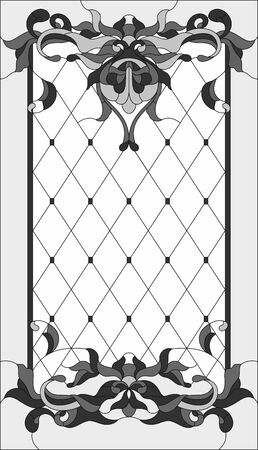 Stained-glass panel in rectangular frame, abstract floral stained glass arrangement of buds and leaves, Art Nouveau style. Glass painting, decorative design of the window or door. Vector illustration Ilustração