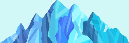 Abstract logo of mountain ranges, blue tones. Vector background Imagens - 144761748