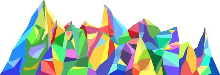 Colorfull mountains in low poly style. Polygonal mountain ridges. Vector landscape background Ilustração