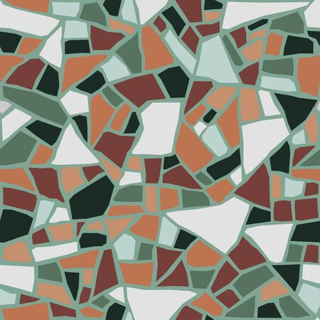 Terrazzo flooring seamless pattern. Pastel colors. Marble mosaic made in colored polished pebble. Vector Imagens - 144761750