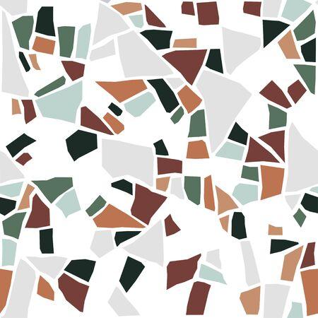 Terrazzo flooring texture. Classic italian type of floor in Venetian style, composed of natural stone, granite, quartz, marble, glass and concrete. Vector pattern