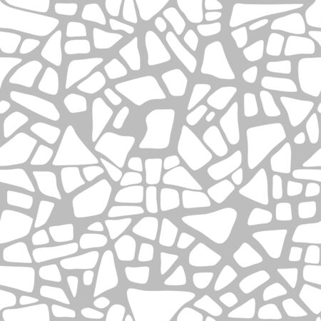 Trencadis seamless pattern, white ceramic tile texture. Vector background Ilustração