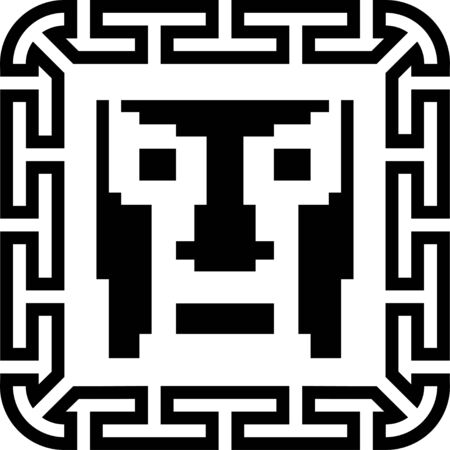 Digital pixel cyber avatar icon. Computer technology, security, hacking. Black and white face person. 8-bit abstract symbol design illustration. Stock vector.