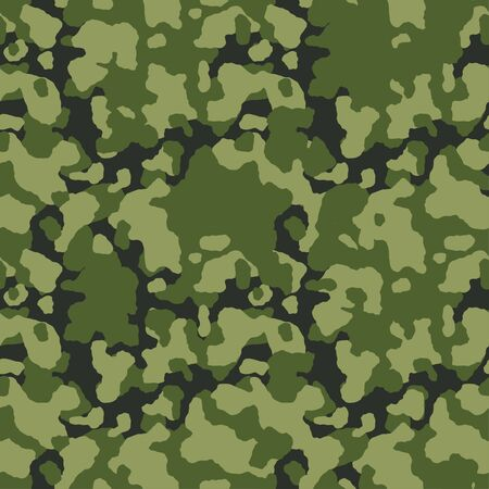 Green camouflage pattern background. Army clothing style. Forest masking camo. Green black olive colors, military seamless texture. Vector.