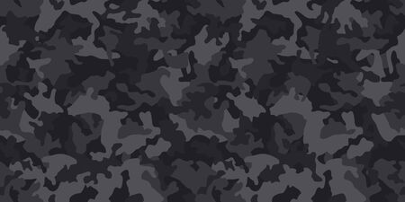 Black camouflage pattern, seamless vector background. Classic clothing style masking dark camo, repeat print. Monochrome texture Imagens - 144770187