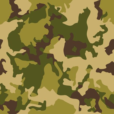 Camouflage pattern background, seamless vector illustration. Classic clothing style masking camo repeat print. Green brown black olive colors forest texture.