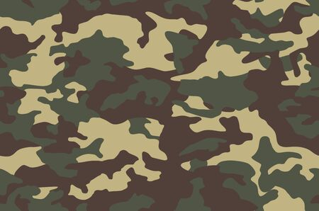 Green seamless camouflage pattern background. Army clothing style. Forest masking military camo. Vector texture.