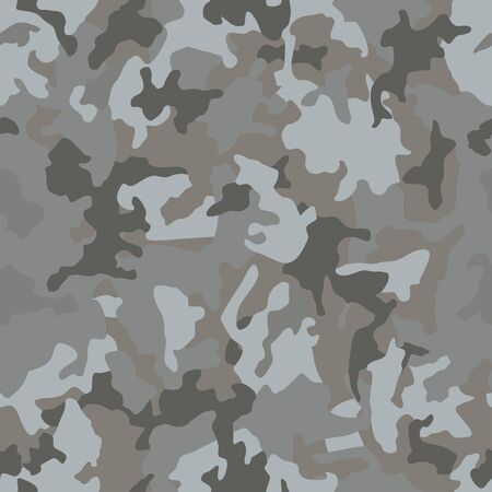 Seamless camouflage for army, hunting and other use. White snow camo texture. Military pattern for fabric print. Vector illustration. Ilustração